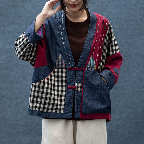 Plus size autumn stitching plaid jacket ladies loose coat