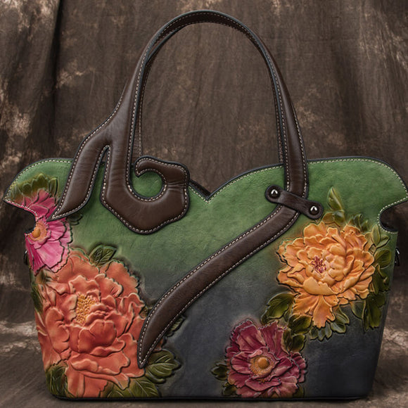 Vintage peony flower leather handbag