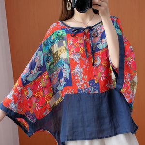 Literary plus size women's color matching shirt ethnic style color bat sleeve sunscreen shirt