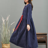 New retro solid color jacquard cotton and linen long-sleeved dress round neck buckle strap plus size long skirt