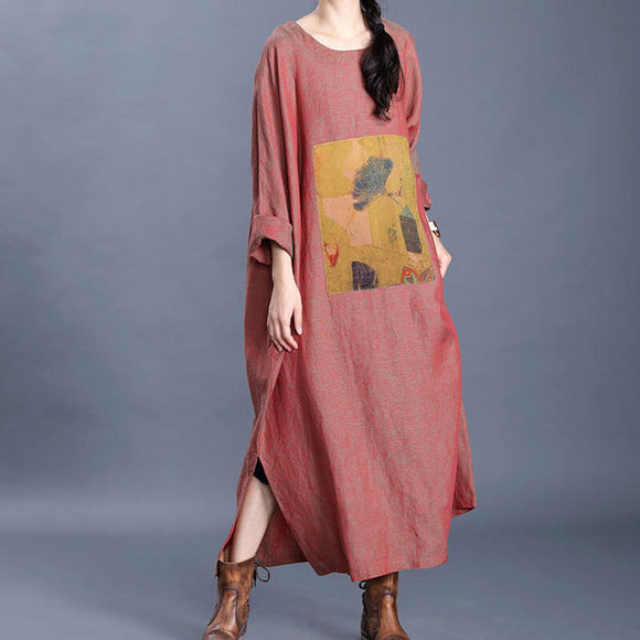 Plus size art print 3/4 sleeve irregular dress