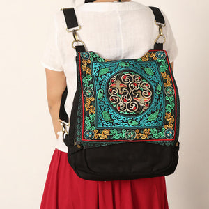 Large capacity embroidered backpack