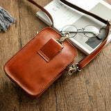 Vegetable tanned leather crossbody bag/waist bag