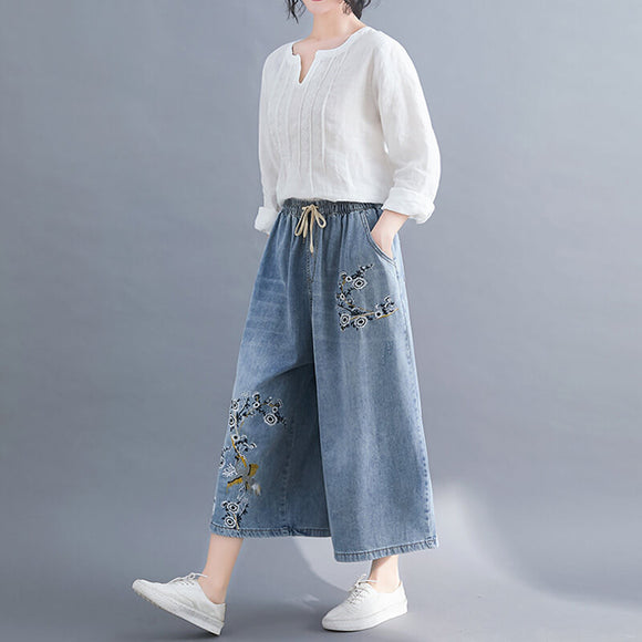Plus size embroidered elastic waist wide-leg jeans