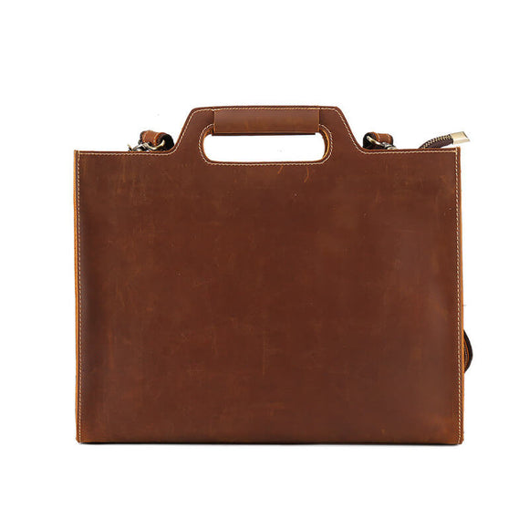Thin vintage leather briefcase