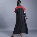 Retro V Neck Loose Linen Short Sleeve Printed Summer Dress