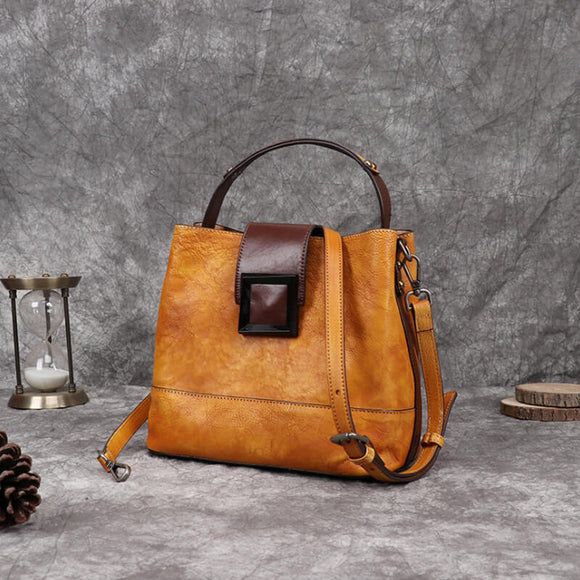 Vintage square button crossbody bag