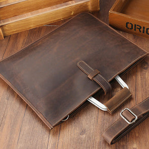 Ultra-thin vintage leather briefcase
