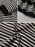 Ultra-loose Classic Striped Round Neck Blouse