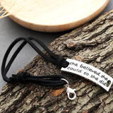 "[Customer name] ""Never Give Up"" Retro Fashion Stainless Steel Leather Cord Bracelet"