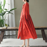 Cotton and linen embroidered dress new retro art loose single-breasted long skirt