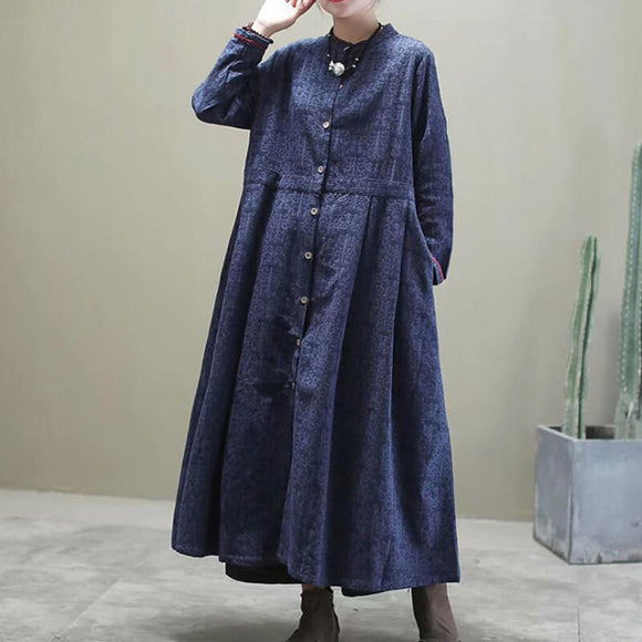 Cotton and linen jacquard crew neck Coat