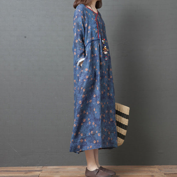 Retro loose ladies casual long skirt linen V-neck printed long-sleeved dress