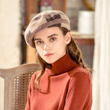 Check pattern wool beret