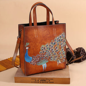 Hand painted peacock tote bag