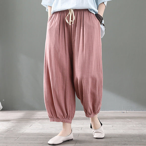 Summer drape loose linen cropped harem pants
