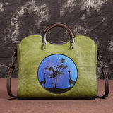 Cowhide vintage handbag-Birds and Flowers-South African style