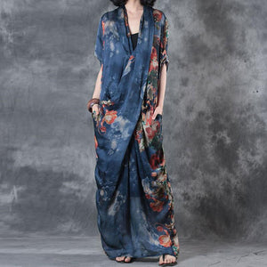 Printing Women Summer Loose Casual Irregular Floral Blue Dress - Buykud