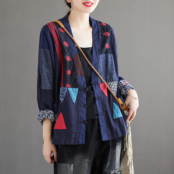 Women patchwork color-blocking cotton and linen plus size coat