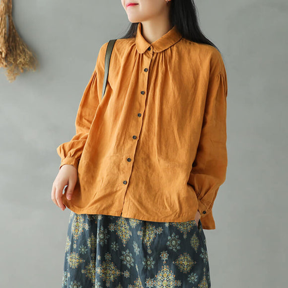 Retro loose long sleeve pleated linen shirt