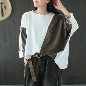Plus size  irregular stitching round neck T-shirt