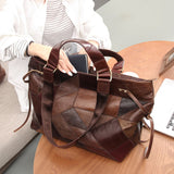 Large leather contrast stitching women's travel handbag