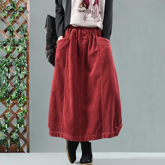Elastic Waist Calf Length Winter Corduroy Skirt