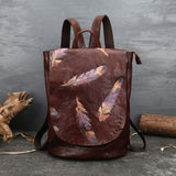 Vintage embossed leather travel backpack