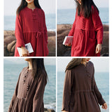 Linen long sleeve dress loose retro solid color dress