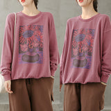 Solid color long-sleeved round neck printed loose sweatshirt