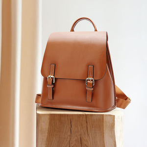 Leather solid color leisure travel backpack