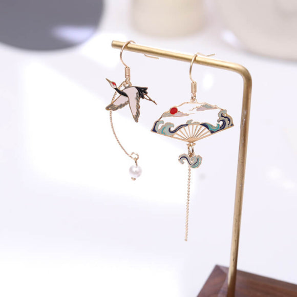 Ethnic style asymmetric folding fan / XIANHE earrings