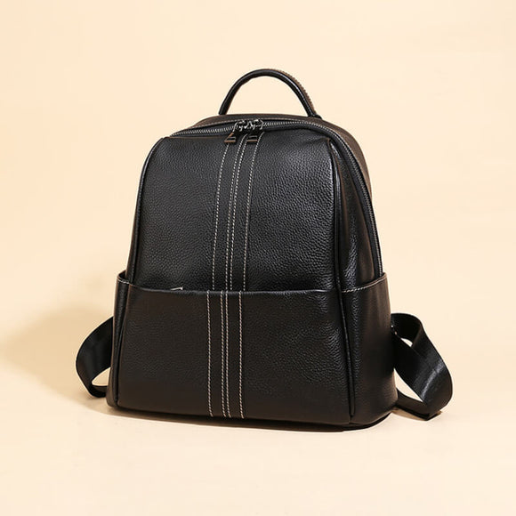 Large capacity simple leather backpack