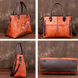 Vintage large leather tote bag-SHUIXIAN