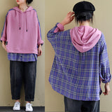 Plus size plaid stitching long-sleeved hooded autumn sweatshirt