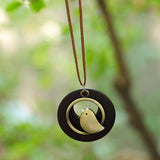 Cute Metal Bird Shape Round Wood Pendant Necklace