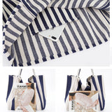 Large capacity striped canvas shoulder bag