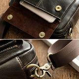 Solid color leather crossbody bag