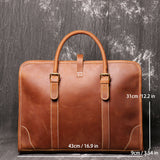 Large capacity leather briefcase