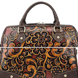 Hand-polished floral embossed handbag