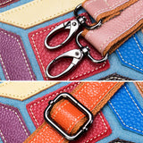 Fashion color stitching leather messenger bag