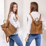 Large capacity fashion buckle soft leather backpack