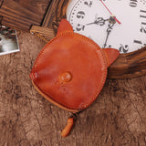 Cat vegetable tanned leather coin purse