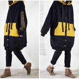 Mid-length large size thick contrast color hooded jacket