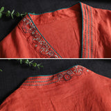 Ethnic style cotton and linen embroidered blouse