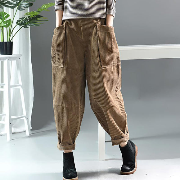 Plus Size - Autumn Winter Retro Corduroy Solid Color Pants