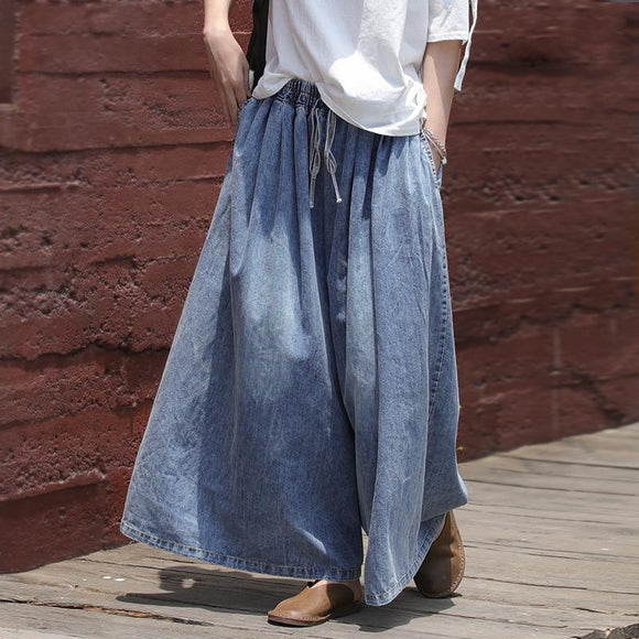 Casual Drawstring Blue Denim Wide Leg Pants