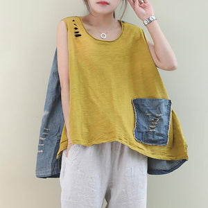 Casual Hole Summer Pure Color Splicing Denim Vest