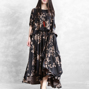 Casual Printed Brocade Fake Two-piece Dress