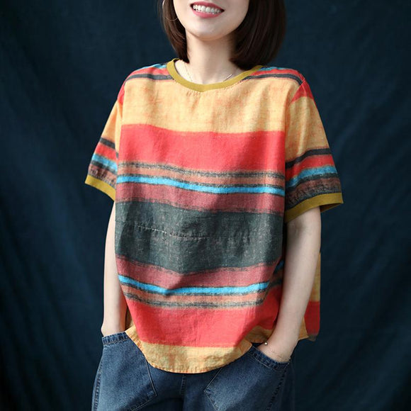 Casual Side Button Colored Stripe Linen T-shirt